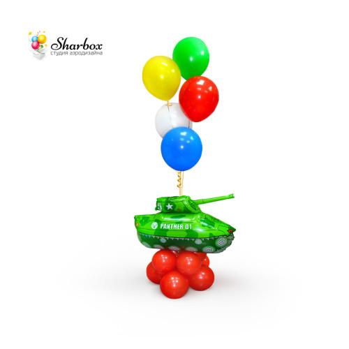 Фонтан из шаров с танком