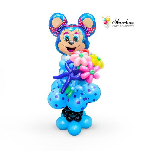 Микки Маус девочка из шаров, с букетом