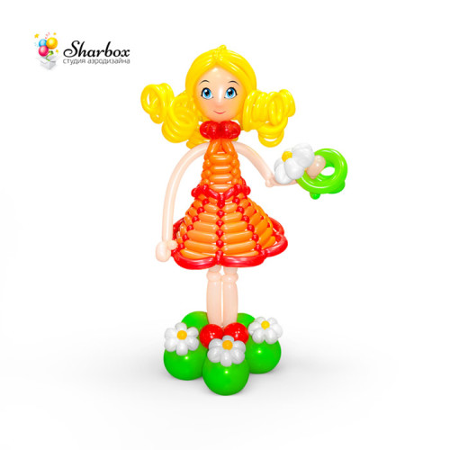 Девочка из шаров в оранжевом