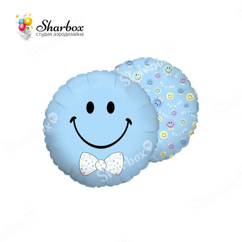 Шар круг Смайл мальчик голубой с гелием