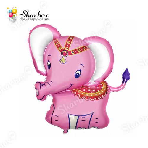 Воздушный шар Слонёнок розовый с гелием