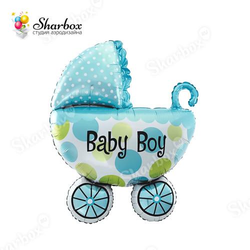 Шар Фигура Коляска для мальчика голубая с гелием