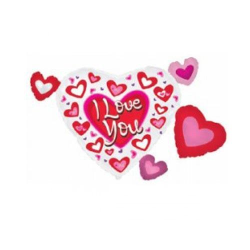 Шар Кластер Сердце в сердечках я люблю тебя