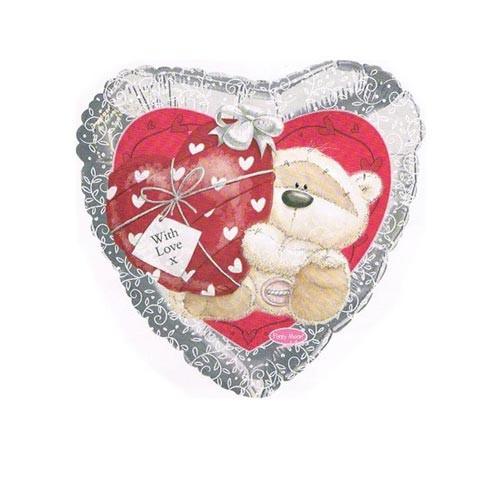 Шар Сердце Мишка с сердечком, серебро
