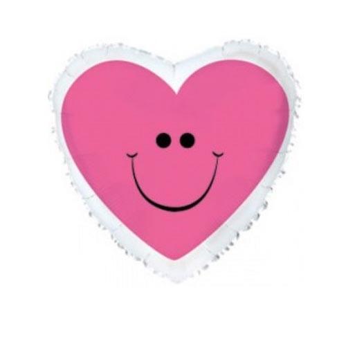 Шар Сердце С улыбкой, розовое