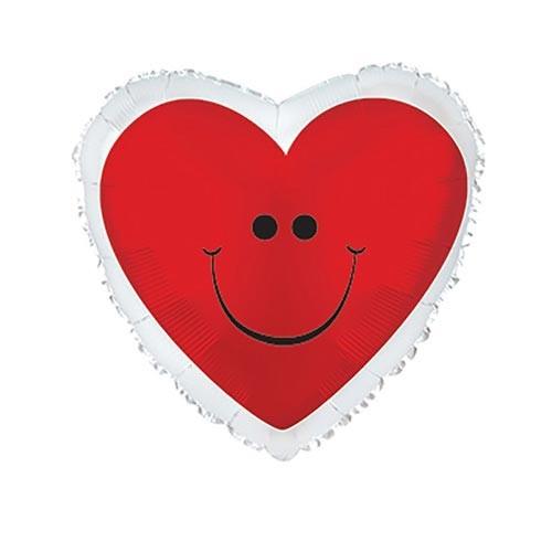 Шар Сердце Смайл, красное
