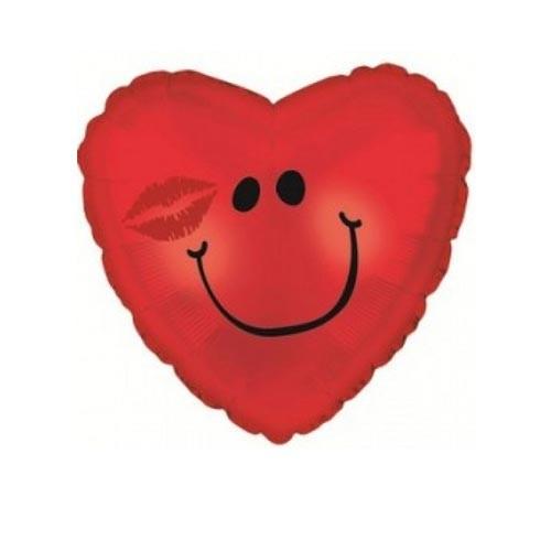 Шар Сердце Смайл с поцелуем, красное