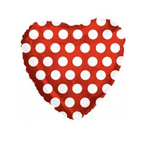 Шар Сердце В белый горошек, красное