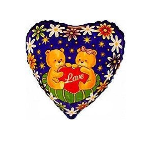 Шар Сердце Влюбленные медведи на подушке