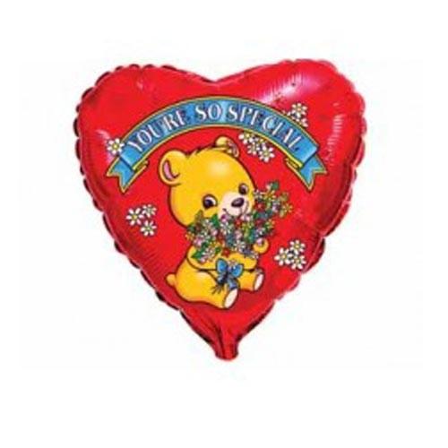 Шар Сердце Влюбленный мишка с цветами
