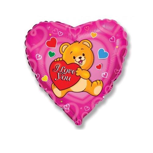 Шар Сердце Влюбленный счастливый медвежонок