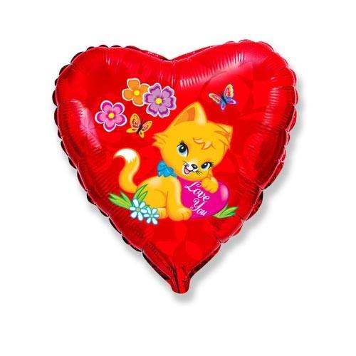 Шар Сердце Влюблённый котёнок