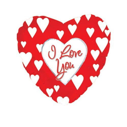 Шар Сердце Я люблю тебя (белые сердца), красное