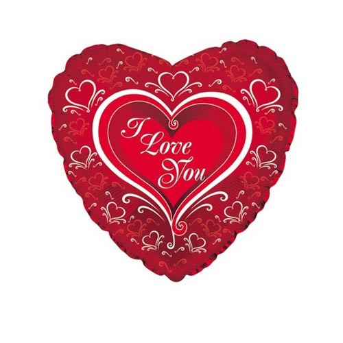 Шар Сердце Я люблю тебя (элегант), красное