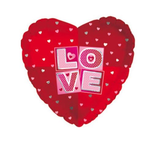 Шар Сердце Я люблю тебя (квадраты), красное