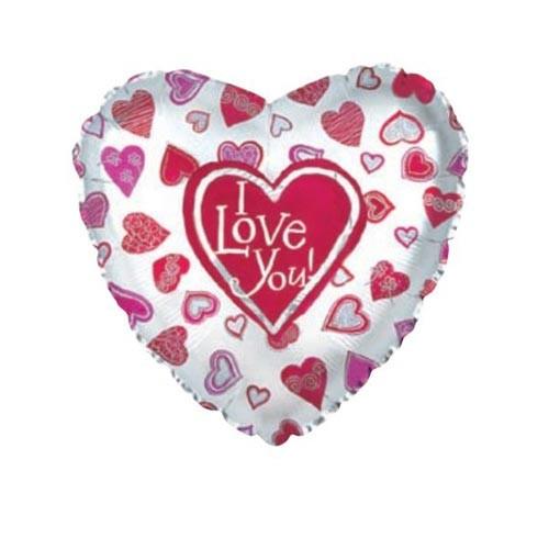 Шар Сердце Я люблю тебя (много сердец), белое