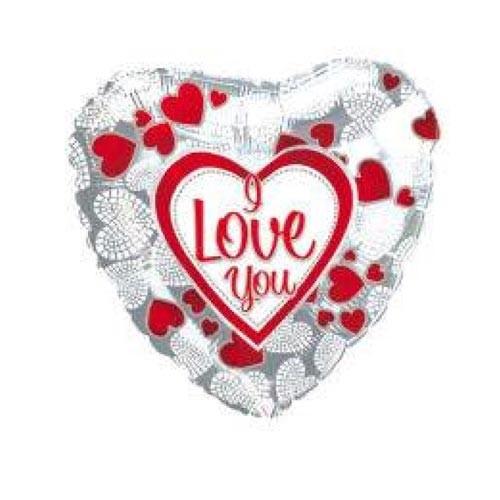 Шар Сердце Я люблю тебя (мозаика из сердечек), серебро