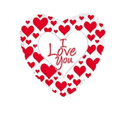 Шар Сердце Я люблю тебя (простые красные сердечки)