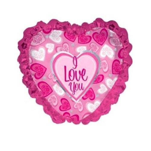 Шар Сердце Я люблю тебя (розовые рюши), розовое