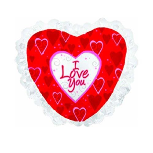 Шар Сердце Я люблю тебя (рюшки), красное