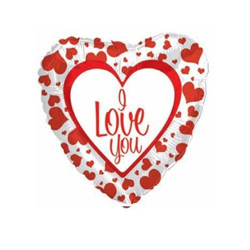 Шар Сердце Я люблю тебя (с красной каймой)