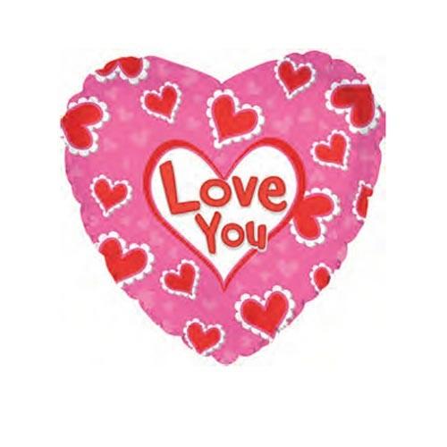 Шар Сердце Я люблю тебя (сердца в узорах), розовое