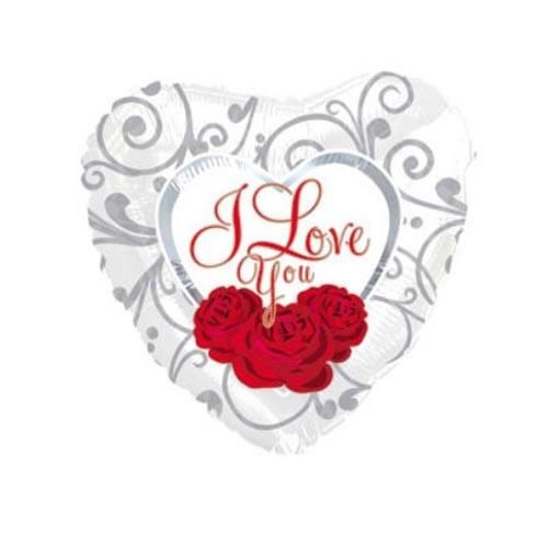 Шар Сердце Я люблю тебя (три розы на белом)