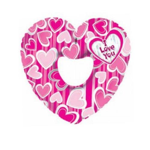 Шар Сердце Я люблю тебя (в полоску), розовое