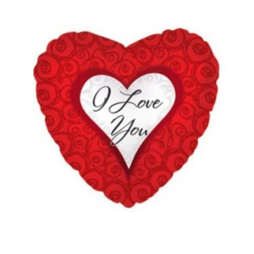 Шар Сердце Я люблю тебя (завитки), красное