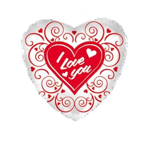 Шар Сердце Я люблю тебя (завитушки), серебро