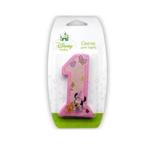 Свеча-цифра 1, Дисней Малышка Минни, розовая