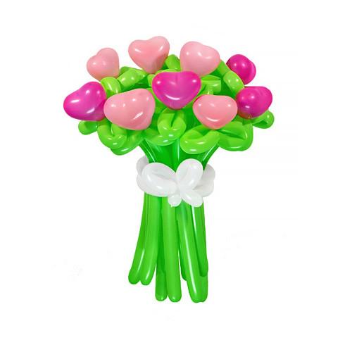 Букет из шаров Нежность и страсть из 9-ти цветов