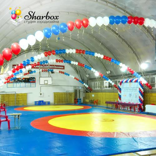 Оформление шарами зала для соревнований. Пример