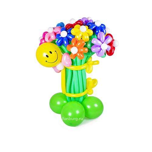 Цветы из шаров Смайл с букетом №1