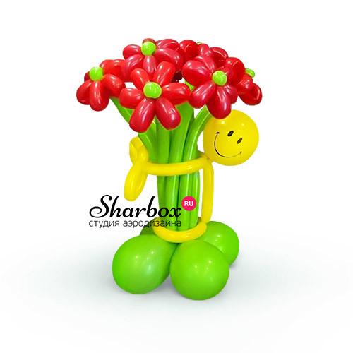 Цветы из шаров Смайл с букетом №2 из 9 ромашек