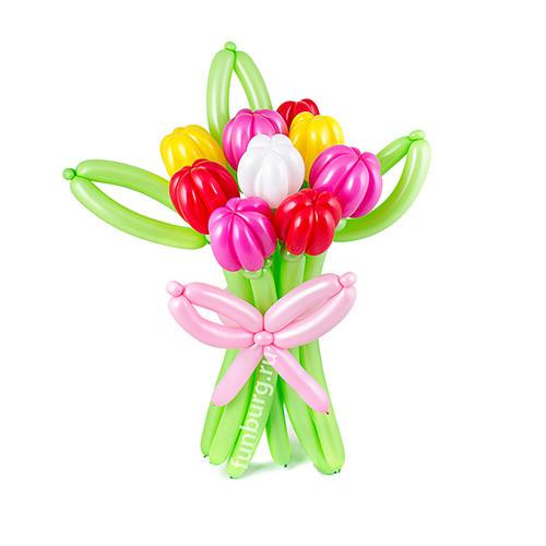 Цветы из шаров Тюльпаны Ассорти. 9 тюльпанов