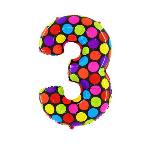 Шар цифра 3, яркий горох