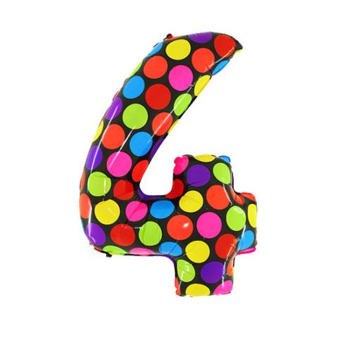 Шар цифра 4, яркий горох