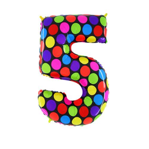 Шар цифра 5, яркий горох