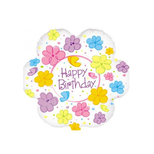 Шар Круг С Днём рождения, бабочки и цветы