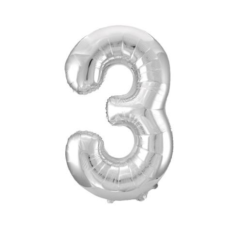 Шар цифра 3, серебро