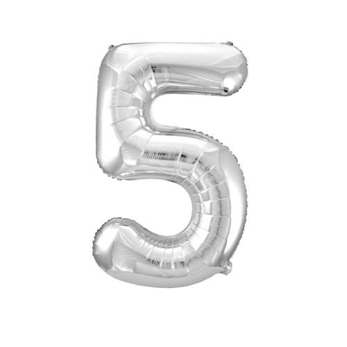 Шар цифра 5, серебро