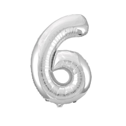Шар цифра 6, серебро