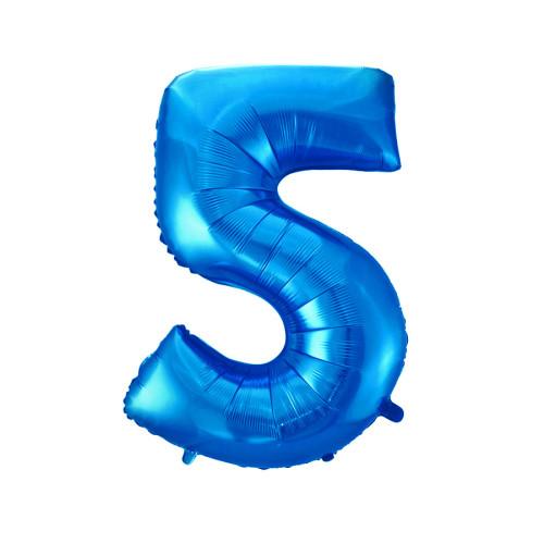 Шар цифра 5, синяя
