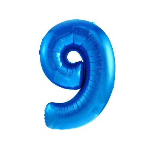 Шар цифра 9, синяя