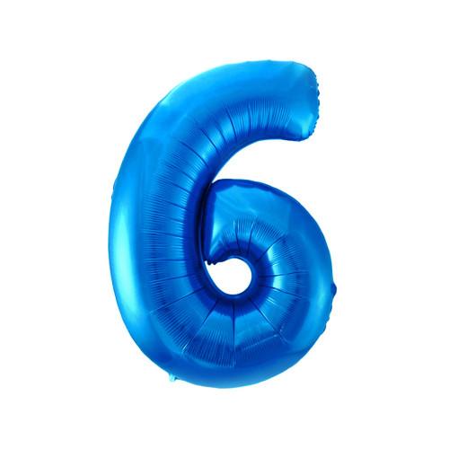 Шар цифра 6, синяя