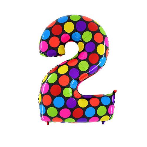 Шар цифра 2, яркий горох