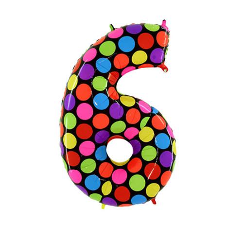 Шар цифра 6, яркий горох