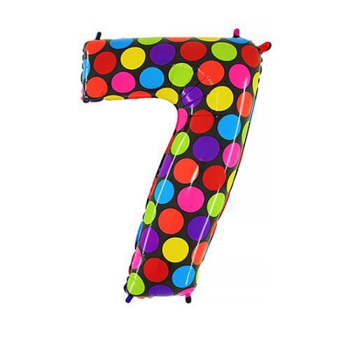Шар цифра 7, яркий горох