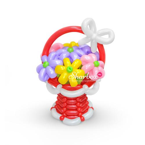 Красная корзинка из шаров